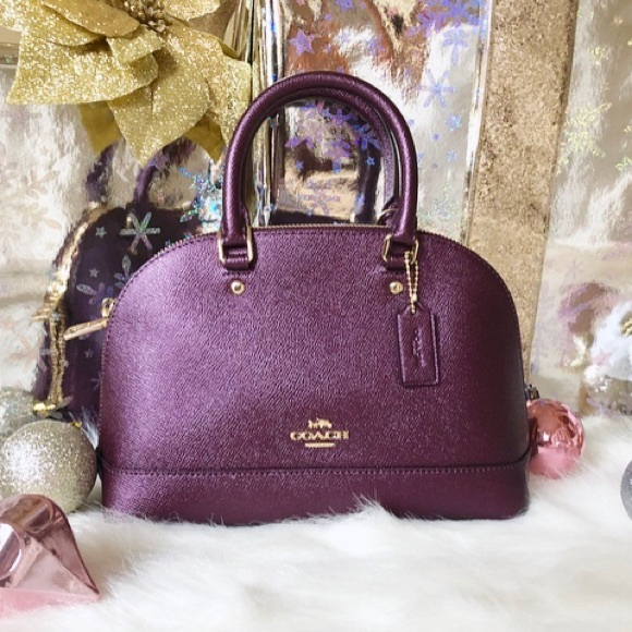 1b7c897dd7e81 spain womens satchels coach 36964 b295f  coupon salecoach nwt metallic purple  satchel bag 63f63 136e4